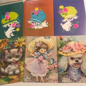 17 Vintage All Occasion Dog Girl Greeting Cards